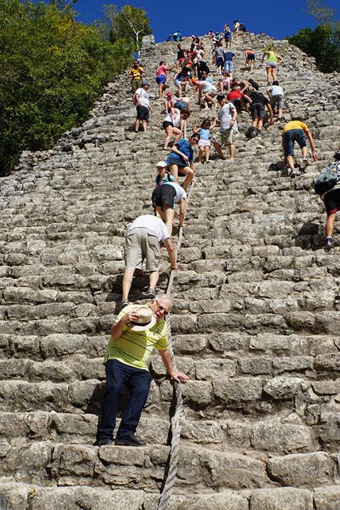 Climbing Coba Pyramid